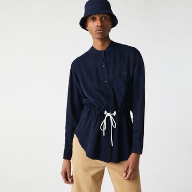 Oferta de Camisa De Mujer Relaxed Fit Con Cintura Ajustable Y Cuello Mao Fluido por $11249