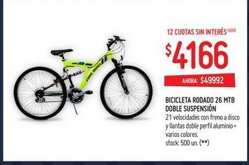 Oferta de Bicicletas rodado 26 mtb doble suspensión por