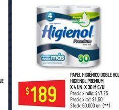 Oferta de Papel higiénico Higienol 4 un x 30 mts por $189