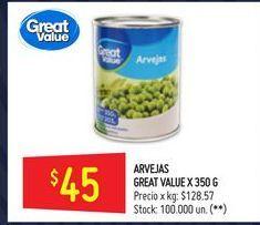 Oferta de Arvejas Great Value 350 gr por $45