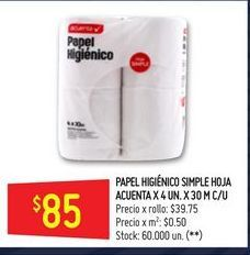 Oferta de Papel higiénico Acuenta 40 rollos por $85