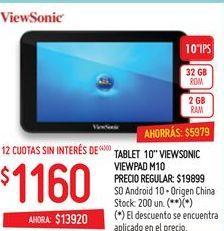 "Oferta de Tablet View Sonic 10"" por $1160"