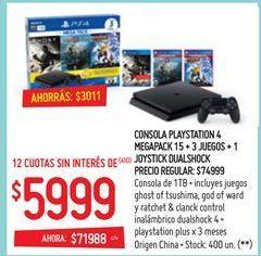 Oferta de Consolas PlayStation por $5999