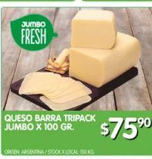 Oferta de Quesos barra tripack jumbo x100 gr por $75,9