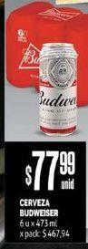 Oferta de Cerveza Budweiser x 473 ml  por $77,99