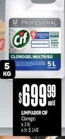 Oferta de Limpiadores Cif x 5 Lt  por $699,99