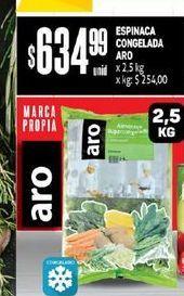 Oferta de Espinaca Congelada Aro x 2.5 Kg  por $634,99