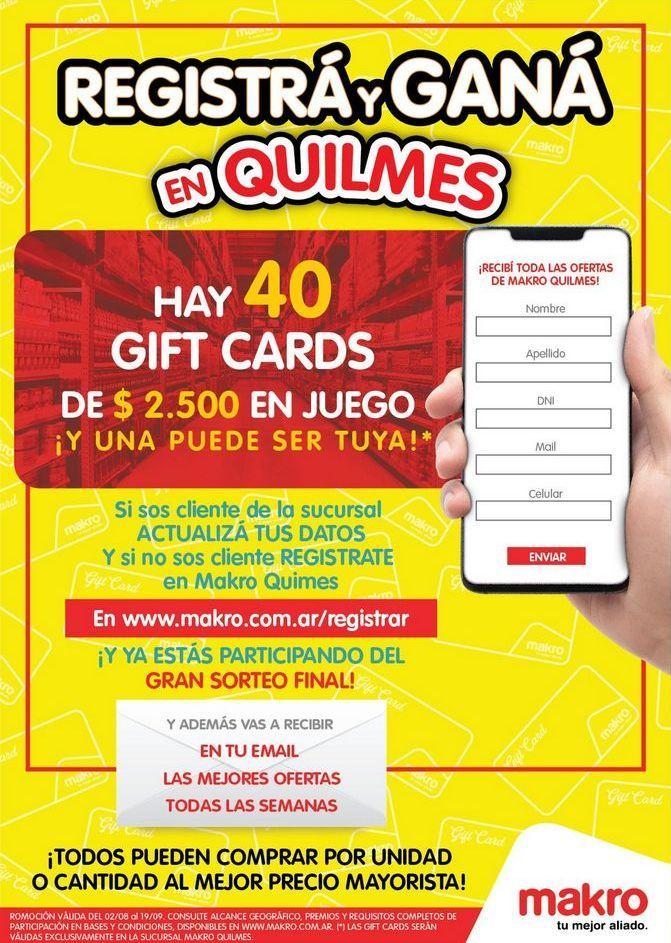 Oferta de Registrá y Ganá en Quilmes por