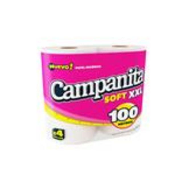 Oferta de Papel Higiénico CAMPANITA Soft Xxl Simple Hoja Paquete 4 Unidades por $308,24