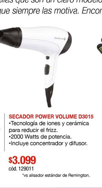 Oferta de SECADOR POWER VOLUME D3015 por $3099