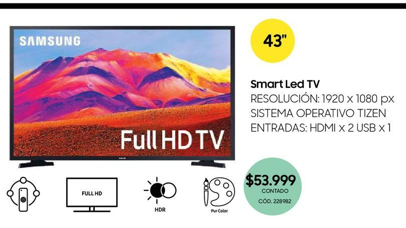 """Oferta de Smart Led tv 43"""" por $53999"""