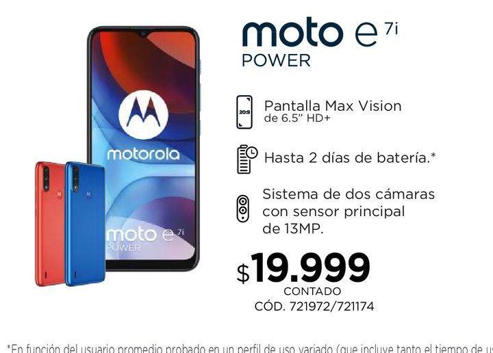 Oferta de Moto E7i por $19999