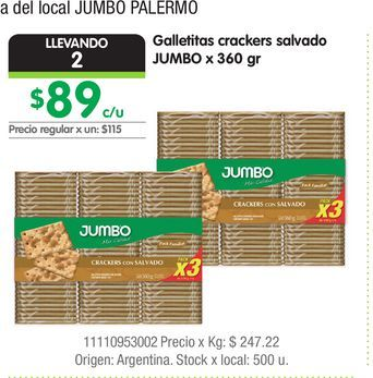 Oferta de Galletitas crackers salvado JUMBO x 360 gr por $89