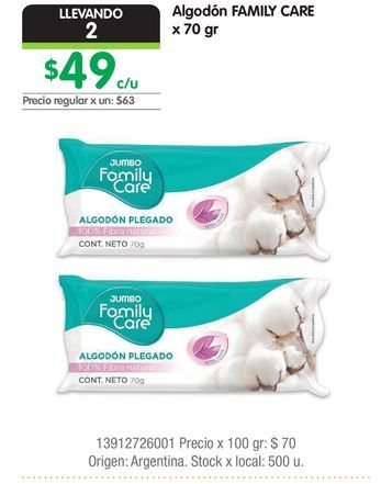 Oferta de Algodón FAMILY CARE x 70 gr por $49