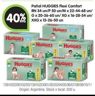 Oferta de Pañal HUGGIES Flexi Comfort RN 34 un/P 50 -40% por