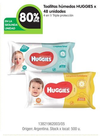 Oferta de Toallitas húmedas HUGGIES x 48 unidades por