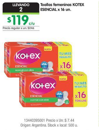 Oferta de Toallas femeninas KOTEX ESENCIAL x 16 un. por $119