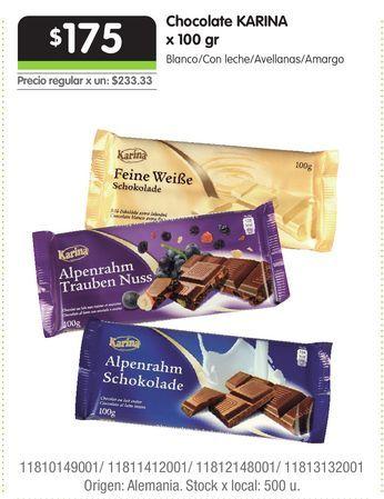 Oferta de Chocolate KARINA x 100 gr por $175
