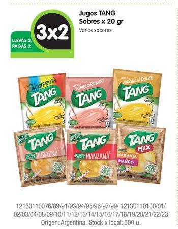 Oferta de Jugos TANG Sobres x 20 gr 3x2 por