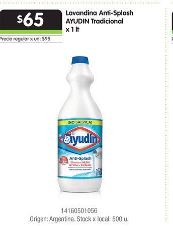 Oferta de Lavandina Anti-Splash AYUDIN Tradicional x 1 lt por $65