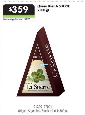 Oferta de Queso Brie LA SUERTE x 100 gr por $359