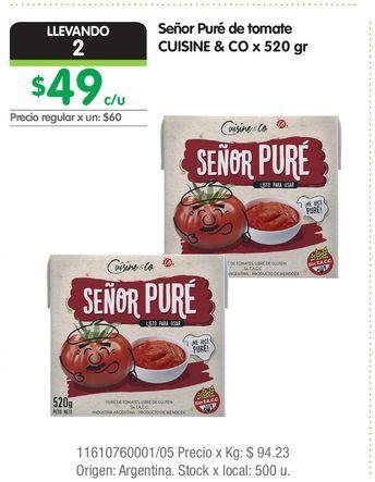 Oferta de Señor Puré de tomate CUISINE & CO x 520 gr por $49