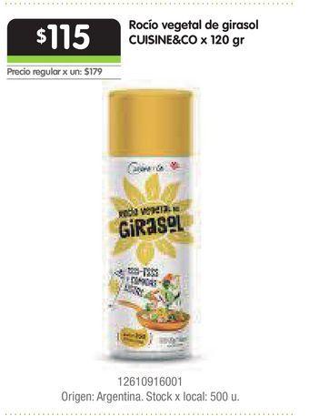 Oferta de Rocío vegetal de girasol CUISINE&CO x 120 gr por $115
