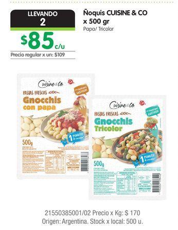 Oferta de Ñoquis CUISINE & CO x 500 gr por $85