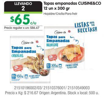 Oferta de Tapas empanadas CUISINE&CO 12 un x 300 gr por $65