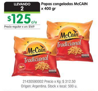 Oferta de Papas congeladas McCAIN x 400 gr por $125