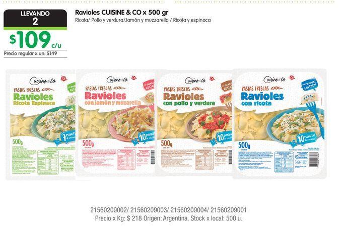 Oferta de Ravioles CUISINE & CO x 500 gr Ricota/ Pollo y verdura/Jamón y muzzarella / Ricot por $109