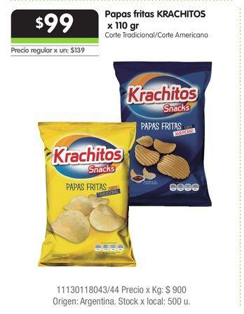 Oferta de Papas fritas KRACHITOS  x 110 gr por $99