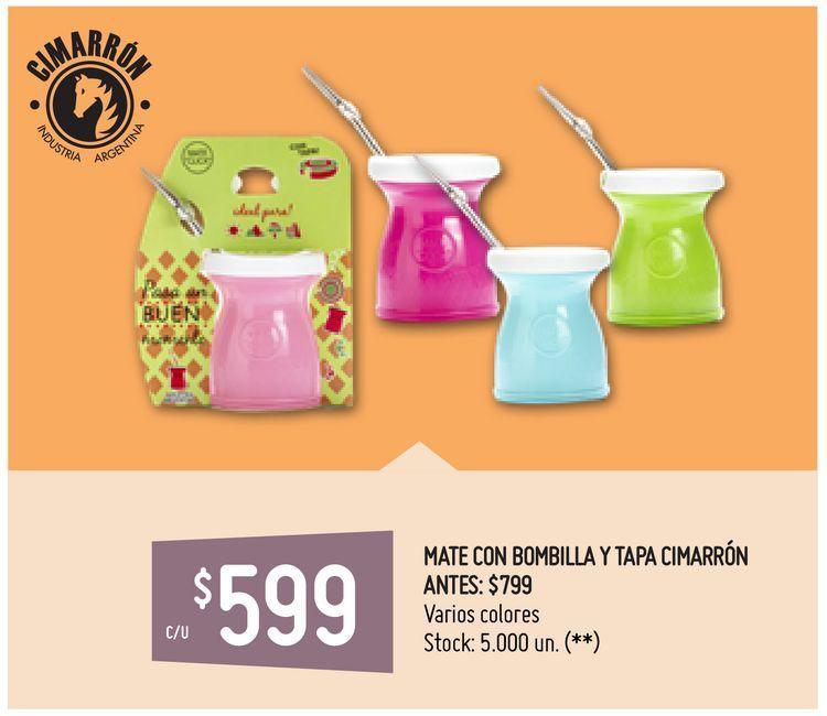 Oferta de MATE CON BOMBILLA Y TAPA CIMARRÓN por $599