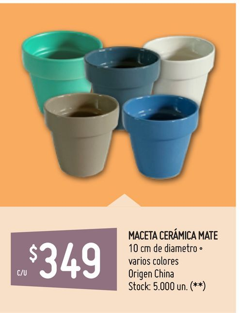 Oferta de MACETA CERÁMICA MATE por $349