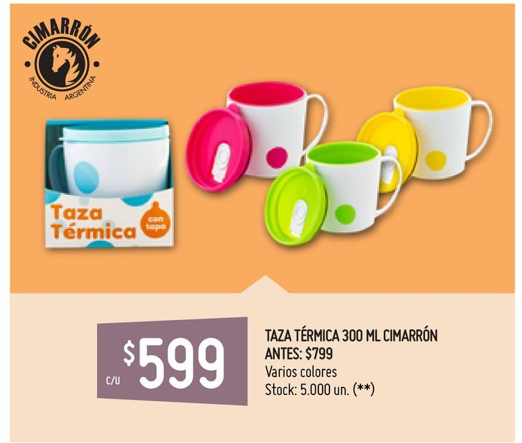 Oferta de TAZA TÉRMICA 300 ML CIMARRÓN por $599