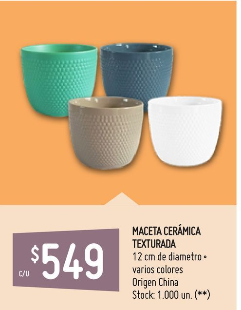 Oferta de MACETA CERÁMICA TEXTURADA por $549