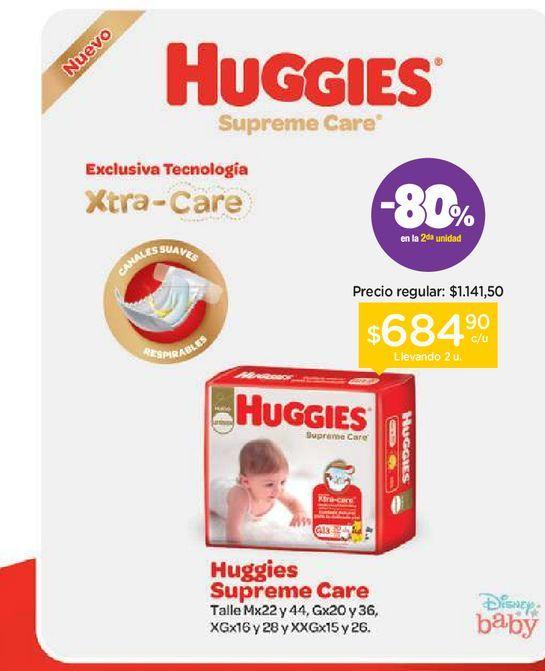 Oferta de Huggies Pañales Huggies Supreme Care Maxi por $1141,5