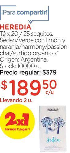 Oferta de Té x 20/25 saquitos sedan/Verde con limón y naranja/ harmony /passion por $189,5