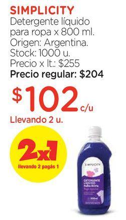 Oferta de Detergente líquido para ropa x 800 ml. por $102