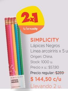 Oferta de Lápices Negros Linea arcoiriris x 5 u. por $144,5