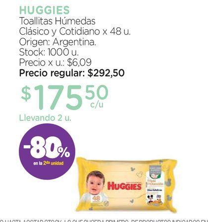 Oferta de Toallas Húmedas Huggies Triple Protección x 48 un por $175,5