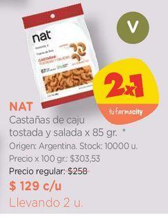 Oferta de Castañas de caju tostada y salada x 85 gr. por $129