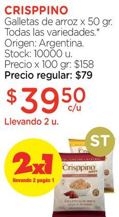Oferta de Galletas de arroz x 50 gr. por $39,5