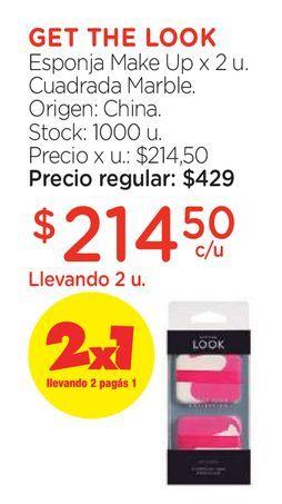 Oferta de Esponja Make Up x 2 u. Cuadrada Marble. por $214,5