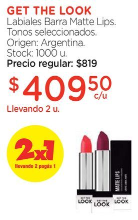 Oferta de Labiales Barra Matte Lips. por $409,5