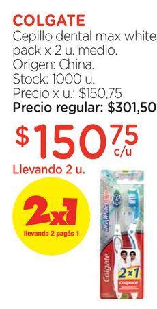 Oferta de Cepillo dental max white pack x 2 u. medio. por $150,75