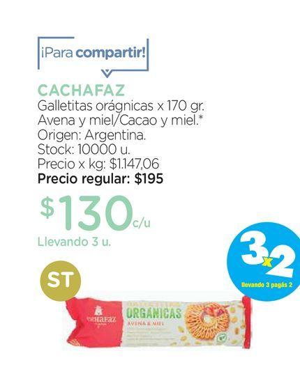 Oferta de Cachafaz Galletas Orgánicas Cachafaz Avena y Miel x 170 g por $130