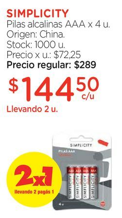Oferta de Pilas alcalinas AAA x 4 u. por $144,5