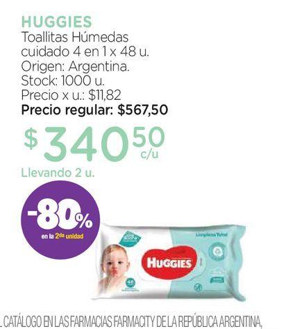Oferta de Toallas Húmedas Huggies Cuidado 4 en 1 x 48 un por $340,5