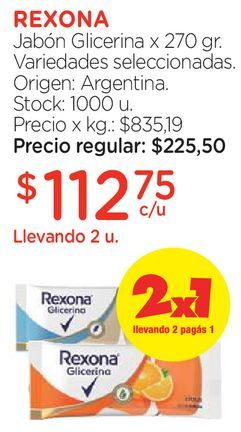 Oferta de Jabón Glicerina x 270 gr. por $112,75